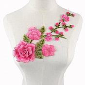 "Embroidered Floral 3D Applique Pink Rose Patch Craft Motif 12"" (BL122)"