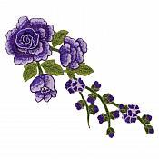 "Embroidered Floral 3D Applique Purple Rose Patch Craft Motif 12"" (BL122)"