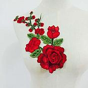 "Embroidered Floral 3D Applique Red Rose Patch Craft Motif 12"" (BL122)"