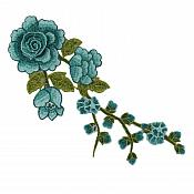 "Embroidered Floral 3D Applique Teal Rose Patch Craft Motif 12"" (BL122)"