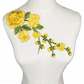 "Embroidered Floral 3D Applique Yellow Rose Patch Craft Motif 12"" (BL122)"