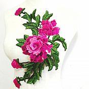 "Embroidered Floral 3D Applique Pink Rose Patch Craft Motif 14.75"" (BL123)"