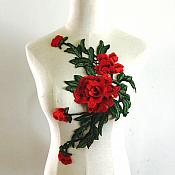 "Embroidered Floral 3D Applique Red Rose Patch Craft Motif 14.75"" (BL123)"
