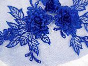 """3D Embroidered Lace Applique Blue Floral Venice Lace Patch 6.75"""" (BL124)"""