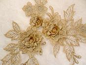"""3D Embroidered Lace Applique Champagne Floral Venice Lace Patch 6.75"""" (BL124)"""