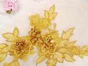 """3D Embroidered Lace Applique Gold Floral Venice Lace Patch 6.75"""" (BL124)"""