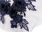 """3D Embroidered Lace Applique Navy Floral Venice Lace Patch 6.75"""" (BL124)"""