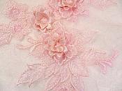 """3D Embroidered Lace Applique Pink Floral Venice Lace Patch 6.75"""" (BL124)"""