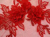 "3D Embroidered Lace Applique Red Floral Venice Lace Patch 6.75"" (BL124)"