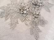 """3D Embroidered Lace Applique Silver Floral Venice Lace Patch 6.75"""" (BL124)"""