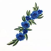 "Embroidered Floral 3D Applique Blue Rose Patch Craft Motif 15"" (BL125)"