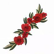 "Embroidered Floral 3D Applique Red Rose Patch Craft Motif 15"" (BL125)"