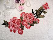 "Embroidered Floral 3D Applique Light Pink Rose Patch Craft Motif 11.25"" (BL126)"