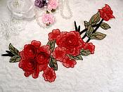 "Embroidered Floral 3D Applique Red Pink Rose Patch Craft Motif 11.25"" (BL126)"