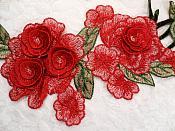 "Embroidered Floral 3D Applique Red Pink Rose Patch Craft Motif 11.25"" (BL126)"