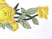 "Embroidered Floral 3D Applique Yellow Rose Patch Craft Motif 11.25"" (BL126)"