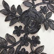 "Embroidered Lace Appliques Black Floral Venice Lace Mirror Pair 14"" BL128X"