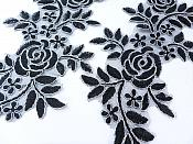 """Embroidered Lace Appliques Black Silver Floral Venice Lace Mirror Pair 14"""" BL128X"""