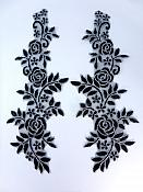 "Embroidered Lace Appliques Black Silver Floral Venice Lace Mirror Pair 14"" BL128X"