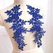 "Embroidered Lace Appliques Royal Blue Floral Venice Lace Mirror Pair 14"" BL128X"
