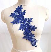 "Embroidered Lace Appliques Royal Blue Floral Venice Lace Mirror Pair 14"" BL128X"