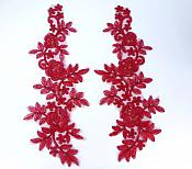 """Embroidered Lace Appliques Burgundy Floral Venice Lace Mirror Pair 14"""" BL128X"""