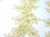 """Embroidered Lace Appliques Champange Gold Floral Venice Lace Mirror Pair 14"""" BL128X"""