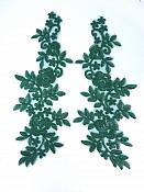 "Embroidered Lace Appliques Hunter Green Floral Venice Lace Mirror Pair 14"" BL128X"