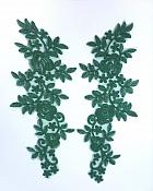 """Embroidered Lace Appliques Hunter Green Floral Venice Lace Mirror Pair 14"""" BL128X"""