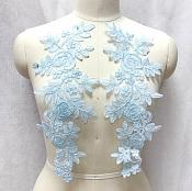 "Embroidered Lace Appliques Light Blue Floral Venice Lace Mirror Pair 14"" BL128X"