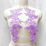 "Embroidered Lace Appliques Lavender Floral Venice Lace Mirror Pair 14"" BL128X"