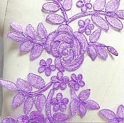 "Embroidered Lace Appliques Lavender Floral Venice Lace Mirror Pair 14"" BL128X"