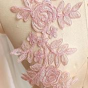 (OSBL128) Embroidered Lace Appliques Pink Floral Venice Lace Mirror Pair 14""