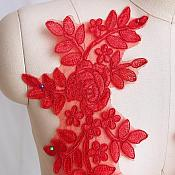 """Embroidered Lace Appliques Red Floral Venice Lace Mirror Pair 14"""" BL128X"""