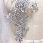 """Embroidered Lace Appliques Silver Floral Venice Lace Mirror Pair 14"""" BL128X"""