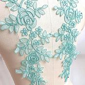 "Embroidered Lace Appliques Teal Green Floral Venice Lace Mirror Pair 14"" BL128X"