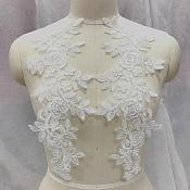 "Embroidered Lace Appliques White Floral Venice Lace Mirror Pair 14"" BL128X"