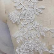 """Embroidered Lace Appliques White Floral Venice Lace Mirror Pair 14"""" BL128X"""