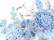 """3 Dimensional Embroidered Lace Applique Blue Pink Floral 17"""" BL129"""