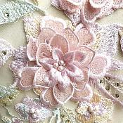 "3 Dimensional Embroidered Lace Applique Pink Green Floral 17"" BL129"