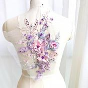 "3 Dimensional Embroidered Lace Applique Pink Lavender Floral 17"" BL129"