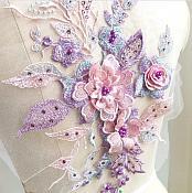 "3 Dimensional Embroidered Lace Applique Pink Lavender Floral 17"" BL129"