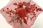 """3 Dimensional Embroidered Lace Applique Red Floral 17"""" BL129"""