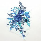 "3 Dimensional Embroidered Lace Applique Blue Floral 17"" BL129"