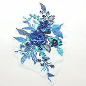 "3 Dimensional Embroidered Lace Applique Blue Floral 17"" BL129"