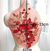 """3 Dimensional Embroidered Lace Applique Red Gold Floral 17"""" BL129"""