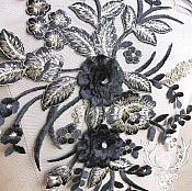 "3 Dimensional Embroidered Lace Applique Black Gold Floral 15"" BL130"