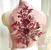 "3 Dimensional Embroidered Lace Applique Burgundy Gold Floral 15"" BL130"