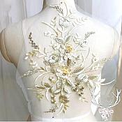 "3 Dimensional Embroidered Lace Applique Champagne Gold Floral 15"" BL130"
