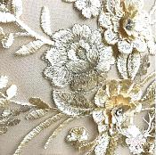 """3 Dimensional Embroidered Lace Applique Champagne Gold Floral 15"""" BL130"""